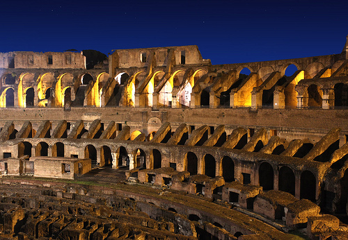 Inside Colosseum at Night