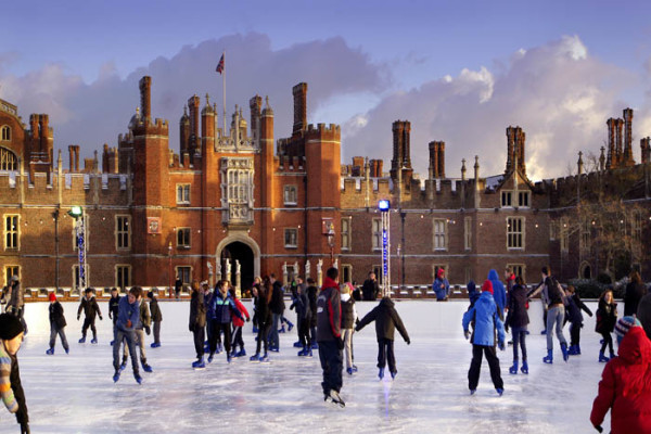 Hampton Court ice rink in front of grand entrance