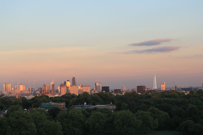 A picture of Primrose hill at sunset.