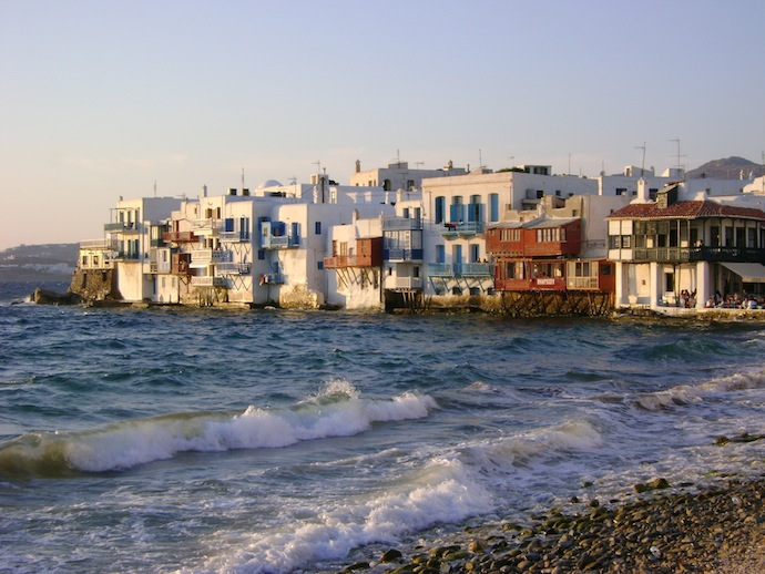 little venice the low lying seaside town in Mykonos