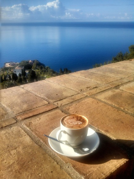 cappuccino and the mediterranean sea
