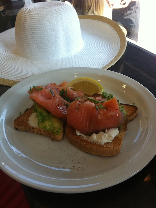 Emily's gluten free cream cheese avocado on toast breakfast
