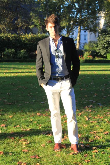 white chinos in the park