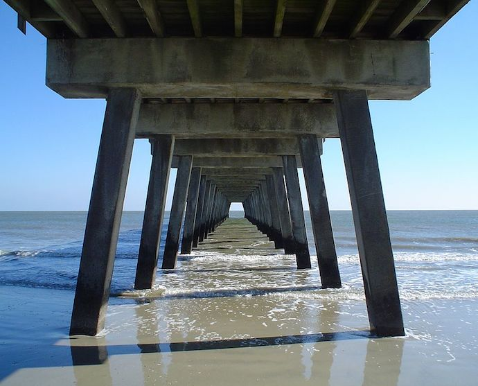 Tybee Island Pier from underneath