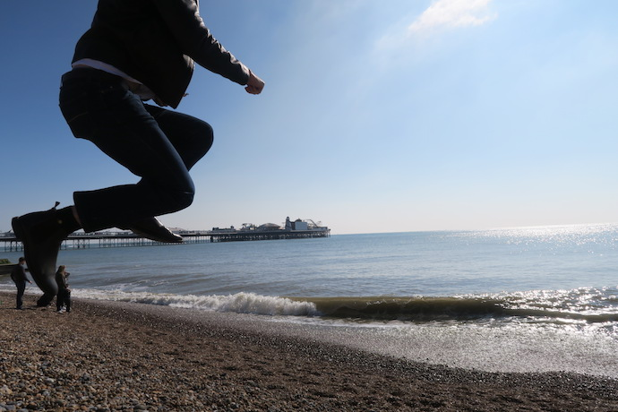 Jumping on Brighton Beach